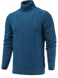 Turtleneck Long Sleeve Geometric Knitted Sweater - BLUE