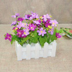 A Set of Stockade Pot Fake Orchid Artificial Flower - PURPLE