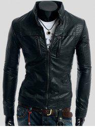 Zippers Design Long Sleeve PU Leather Jacket -
