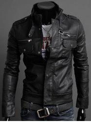 Pockets Design Long Sleeve PU Leather Jacket - BLACK