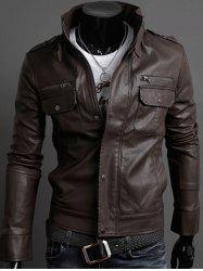 Pockets Design Long Sleeve PU Leather Jacket - COFFEE