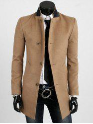 Stand Collar Lengthen Spliced Design Single Breasted Long Sleeve Woolen Coat