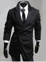 Notched Lapel Collar Double Breast Coat - BLACK 2XL