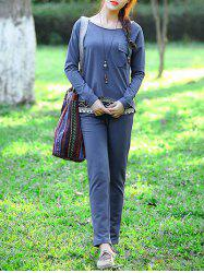 Casual Pocket Top and Solid Color Pants Three-Piece Suit For Women