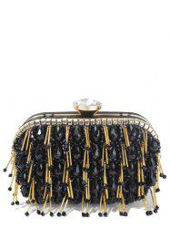 Beading Metal Design Evening Bag - BLACK