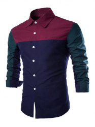 Color Block Spliced Design Turn-Down Collar Long Sleeve Shirt