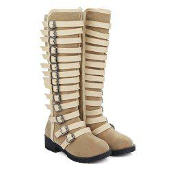 Multi Buckles Suede Design Mid-Calf Boots