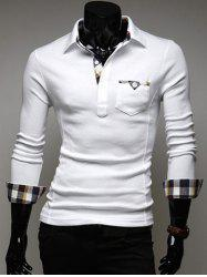 Plaid Pocket Edge Design Long Sleeve Polo Shirt