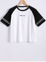 Raglan Sleeve Color Block Letter Print T-Shirt -