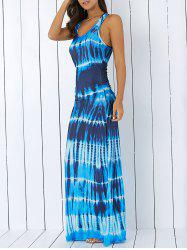 Bohemian Tie-Dye Illusion Print Racerback Maxi Tank Dress - BLUE