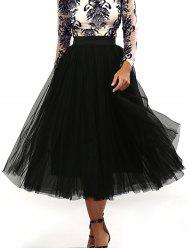 Pleated Tulle Pure Color Gown Midi Skirt - BLACK