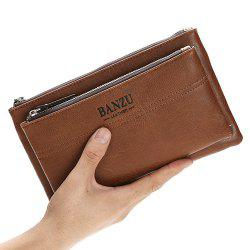 Leisure PU Leather and Double Zipper Design Wallet For Men -