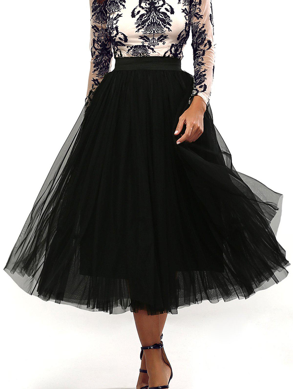 Unique Pleated Tulle Pure Color Gown Midi Skirt