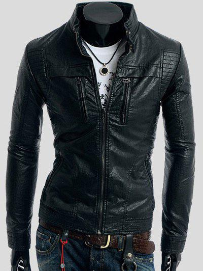 Trendy Zippers Design Long Sleeve PU Leather Jacket