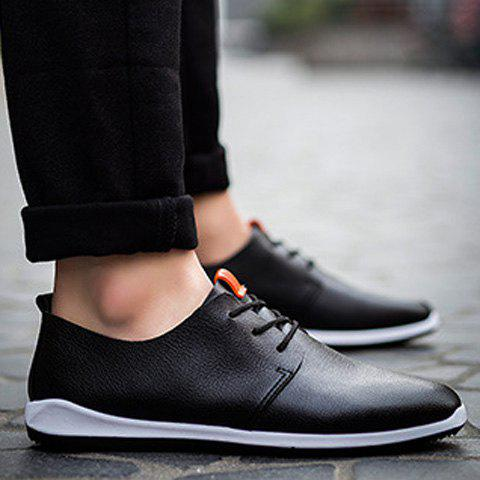 Trendy Concise Lace-Up and PU Leather Design Casual Shoes For Men