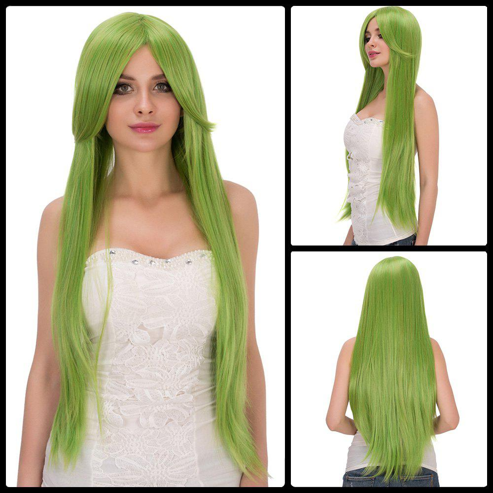Fashion Fairy Neon Bright Green Long Side Bang Straight Film Character Cosplay Wig