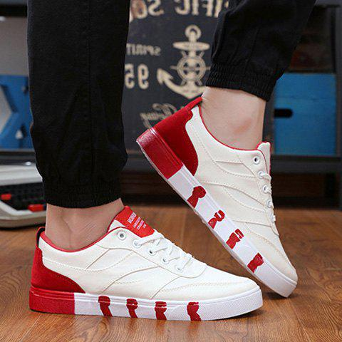 Store Stylish Splicing and Lace-Up Design Canvas Shoes For Men