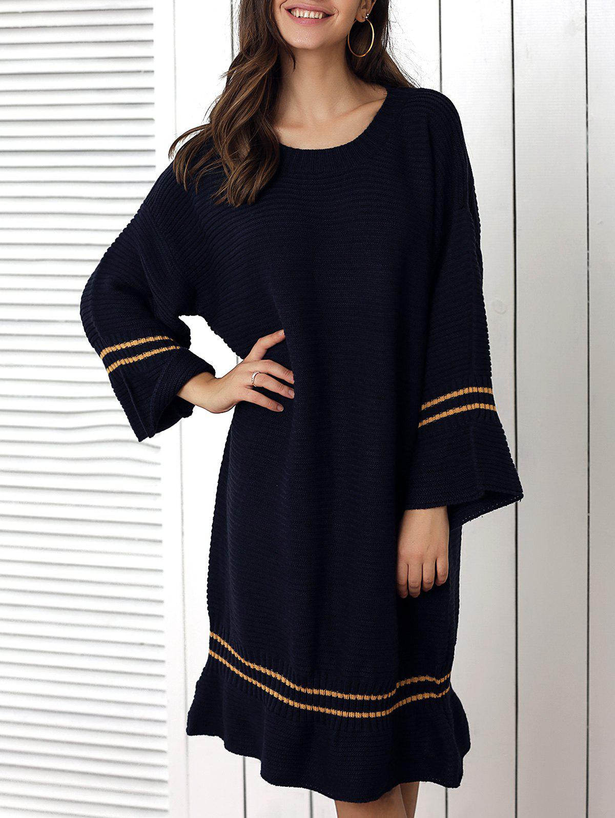 Cheap Loose Fitting Striped Flounce Sweater Dress