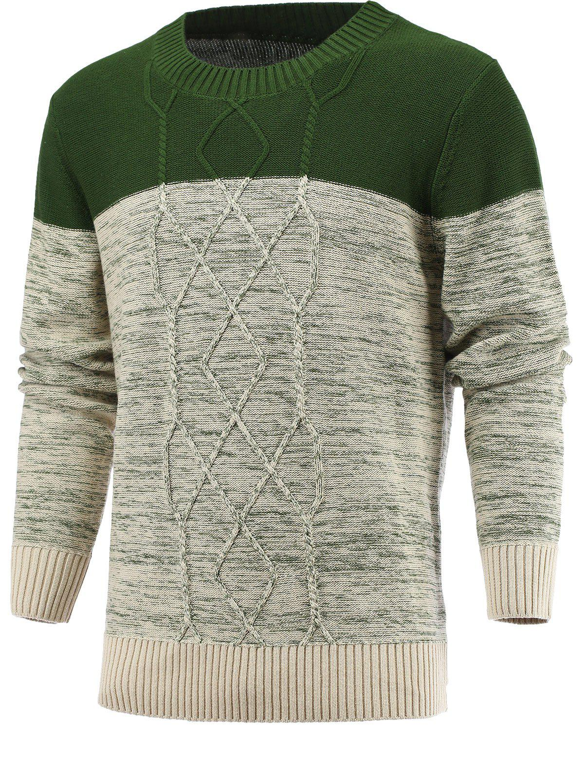 Latest Spliced Geometric Knitted Long Sleeve Sweater