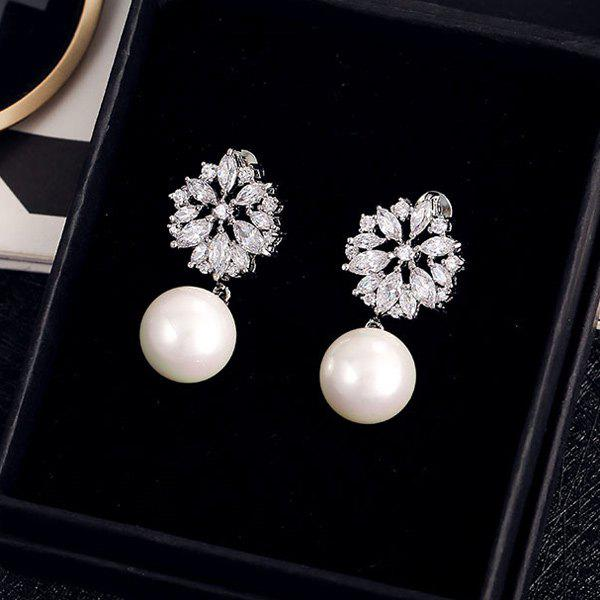 Store Pair of Faux Pearl Cut Out Rhinestone Floral Earrings