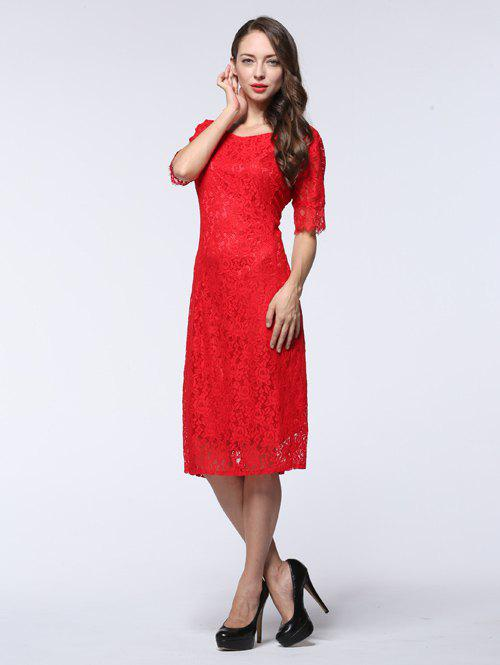 Latest Half Sleeve Hollow Out Slimming Lace Dress
