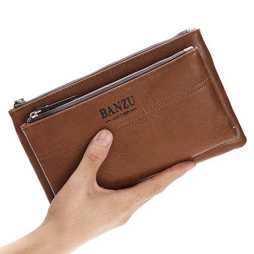Fancy Leisure PU Leather and Double Zipper Design Wallet For Men