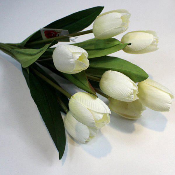A Bouquet of 9 Heads Tulip Home Decor Artificial FlowerHOME<br><br>Color: WHITE; Plant Type: Tulip; Material: Polyester; Included Product: Nothing; Length: 5CM; Diameter: 2.5CM; Height: 30CM; Weight: 0.300kg; Package Contents: 1 x Artificial Flower;