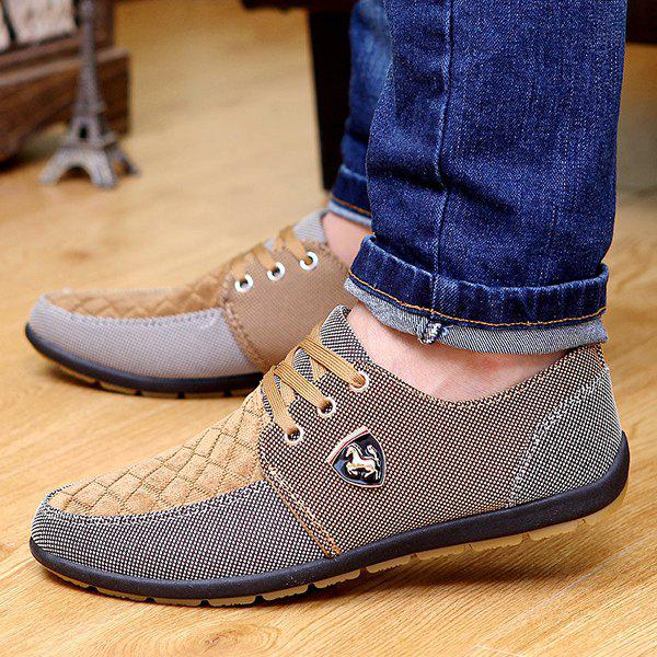 Discount Lace Up Color Block Casual Shoes
