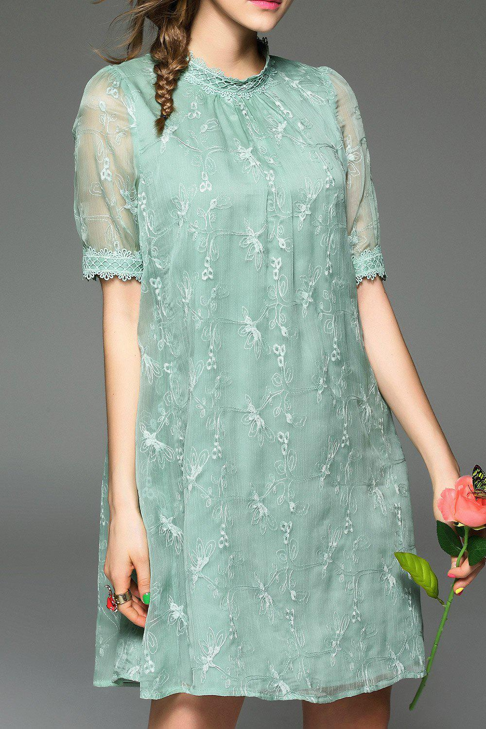 Online Embroidered Gauzy Trapeze Dress