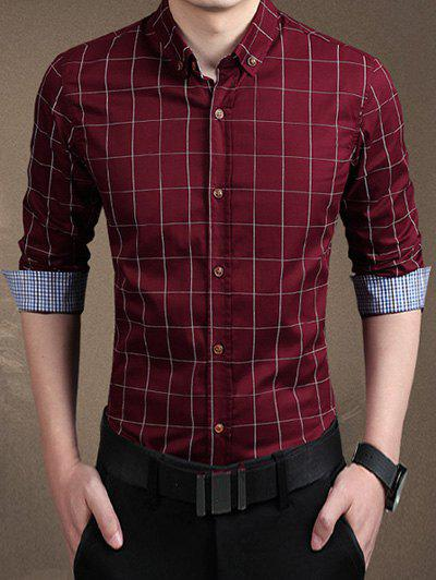 Plaid Long Sleeve Button-Down ShirtMEN<br><br>Size: M; Color: WINE RED; Shirts Type: Casual Shirts; Material: Polyester; Sleeve Length: Full; Collar: Turn-down Collar; Weight: 0.2700kg; Package Contents: 1 x Shirt;