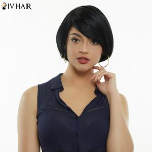 Siv Hair Short Fluffy Side Bang Straight Capless Human Hair Wig