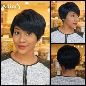Straight Pixie Cut Capless Short Inclined Bang Heat Resistant Fiber Wig