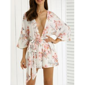 Plunging Neck Tie Belt Floral Romper - Off-white - M