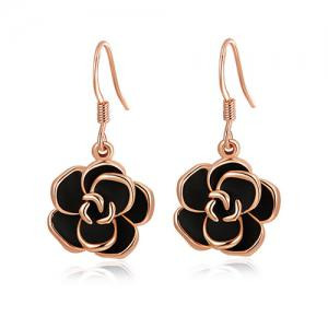 Pair of Alloy Rose Shape Drop Earrings - Golden