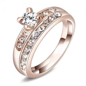 Pair of Rhinestone Wedding Jewelry Rings - Rose Gold - One-size