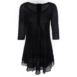 Chic Women's Buttoned Chiffon Spliced Asymmetric Dress