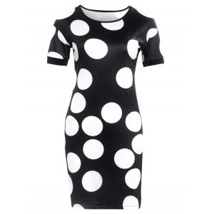 Short Sleeve Polka Dot Print Slimming Dress - Black - S