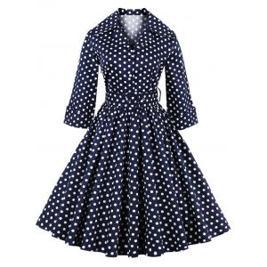 Retro Polka Dot Print 3/4 Sleeve Flare Dress With Belt - Purplish Blue - 4xl