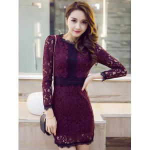 Ruffle Collar Long Sleeve Lace Crochet Sheath Dress