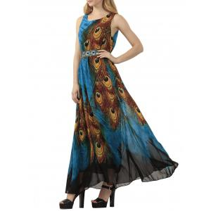 Bohemian Tie-Dye Peacock Leather Print Maxi Dress - Peacock Blue - 3xl