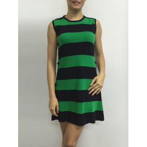 Button A Line Striped Sleeveless Jumper Dress