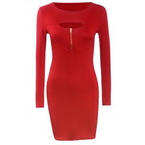 Long Sleeve Front Cutout Zipper Bodycon Dress - Red - S