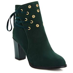 Lace-Up Chunky Heel Design Short Boots