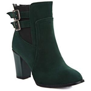 Double Buckles and Chunky Heel Design Short Boots