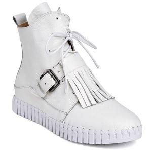 PU Leather Buckle Fringe Short Boots
