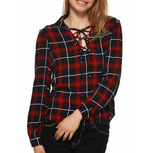 Plaid Flannel Lace Up Front Blouse