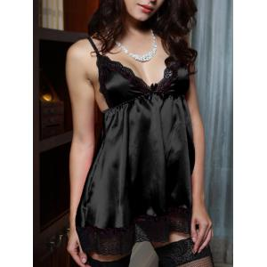 Spaghetti Strap V Neck Lace Spliced Babydoll