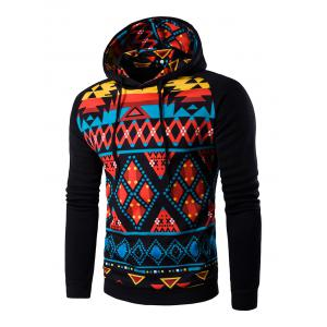 Cartoon Geometric Printed Hoodie - Black - L
