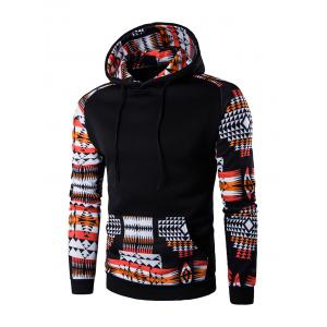 Patchwork Design Geometric Print Hoodie - Black - M