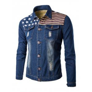Flag Print Frayed Design Denim Jacket - Deep Blue - M